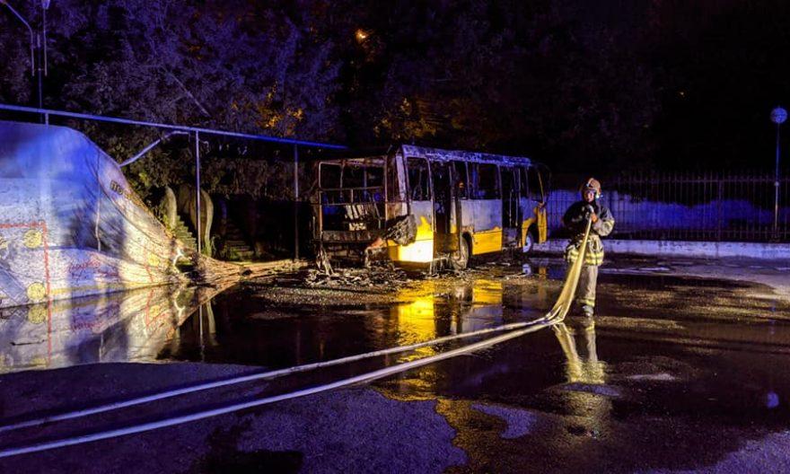 у білій церкві згорів автобус