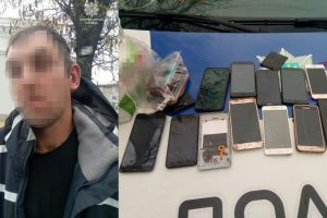 у білій церкві патрульні, 20 мобільних телефонів, виявили чоловіка з близько 20 мобільними